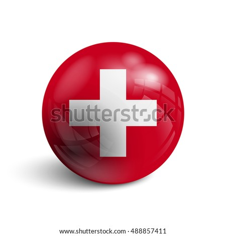 Realistic ball with the Switzerland national flag. Sphere with a reflection of the incident light with shadow.