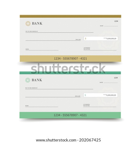 Realistic bank check set isolated on white background vector illustration - stock vector