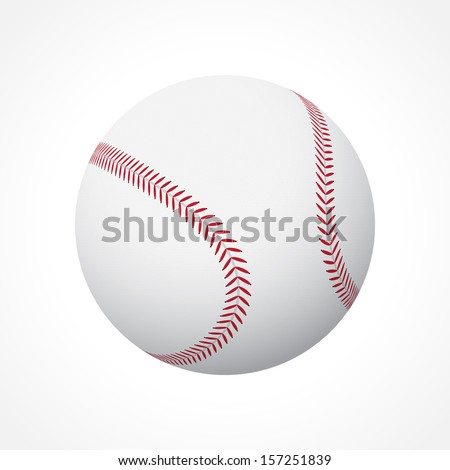 Realistic baseball ball isolated on white background - stock vector