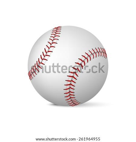 Realistic baseball on white background. Vector EPS10 illustration.  - stock vector