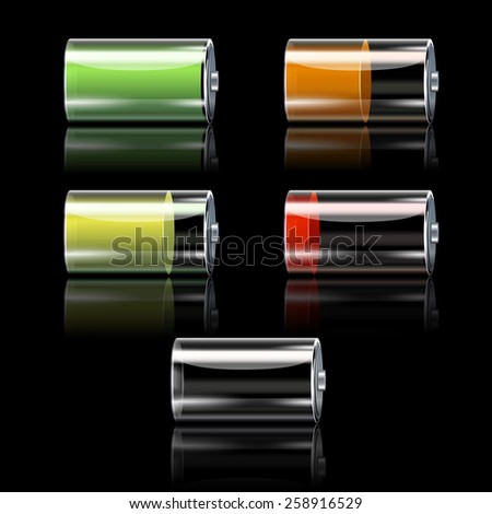 Realistic battery decorative icons set with different charge levels isolated vector illustration - stock vector