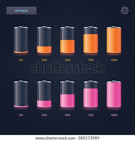 Realistic Battery Icons Set  - stock vector
