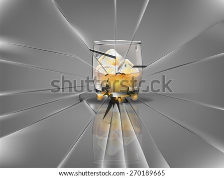 realistic beautiful whiskey glass with ice cubes and whiskey vector,broken glass scene - stock vector