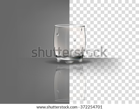 realistic beautiful whiskey glass with transparent water condensation vector on transparent background - stock vector