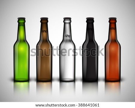 Realistic beer bottle set, vector - stock vector