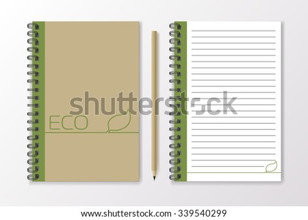 Realistic beige notebook with pencil and template blank, eco design, vector - stock vector