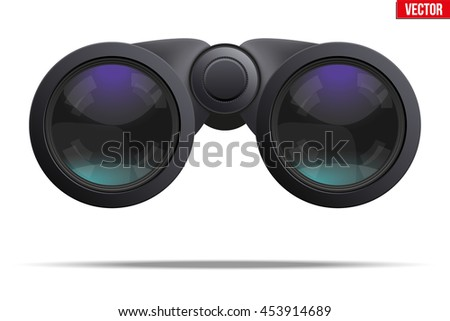 Realistic Binoculars. Optic and lens theme. Original design and Front view. Editable Vector illustration Isolated on white background.