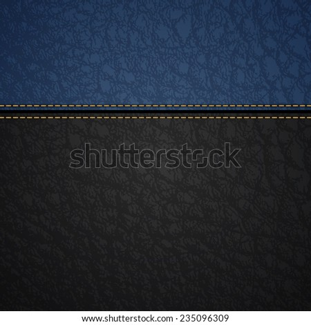 Realistic black and blue leather texture background