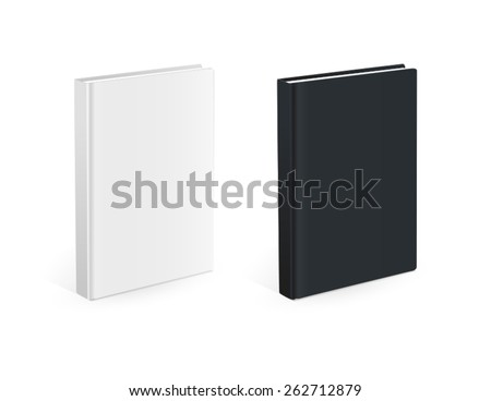 Realistic black and white books with empty covers - stock vector