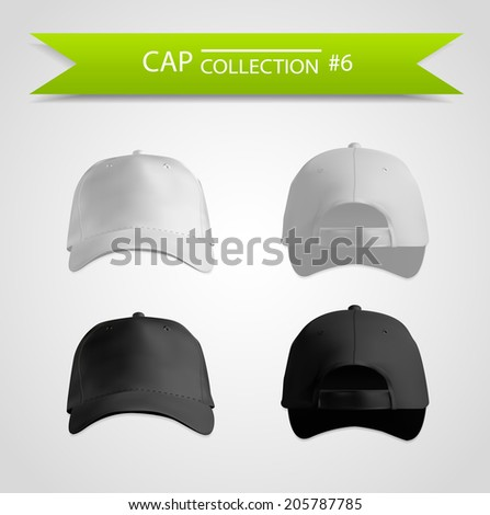 Realistic black and white caps front and back - stock vector