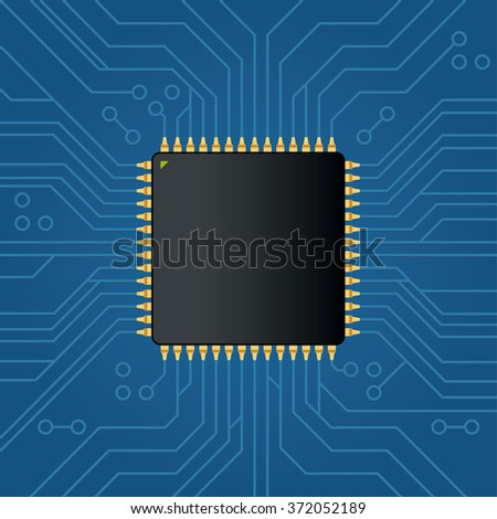 Realistic black electronic microchip. Vector illustration - stock vector