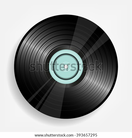 Realistic, black LP vinyl record isolated on white background