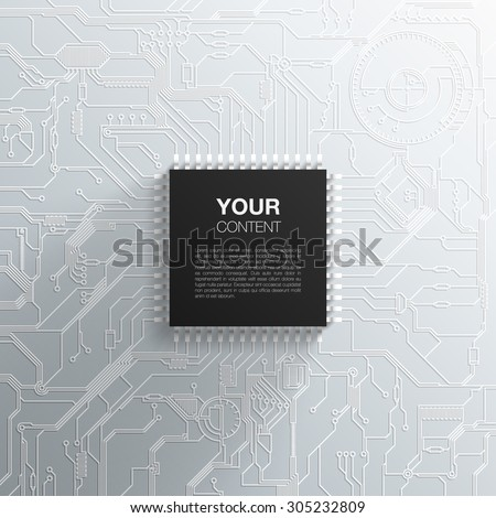 Realistic black microchip on detailed printed circuit board design abstract background with your text infographics vector stock eps 10 illustration - stock vector
