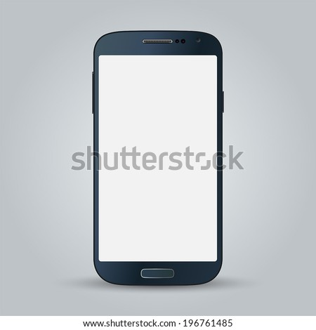 Realistic black mobile phone with blank screen isolated on gray background. Vector EPS10