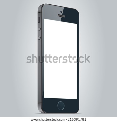 Realistic black mobile phone 5 with blank screen isolated on white background. Modern concept smartphone device with digital display. Vector illustration EPS10 - stock vector