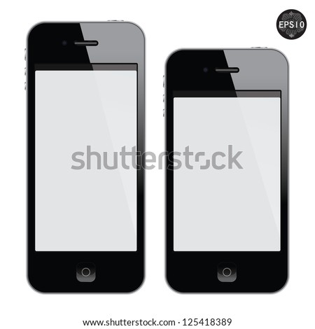 Realistic black mobile phone with blank screen isolated on white, Vector - stock vector
