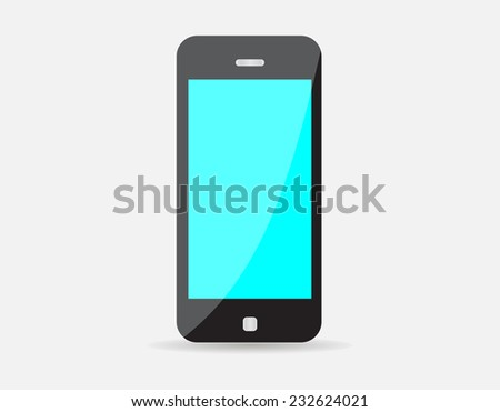 Realistic black mobile phone with blue blank screen isolated on white background. Vector illustration EPS10 - stock vector