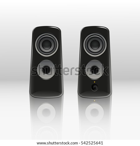 audio speakers clipart. realistic black music speakers in the front view on light background. vector isolated clip audio clipart