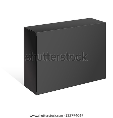 Realistic Black Package Box. For Software, electronic device and other products. Vector illustration. - stock vector