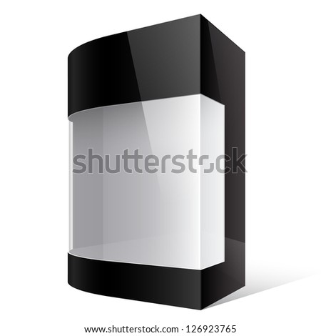 Realistic Black Package Box with rounded corner and transparent plastic window. For Software, electronic device. On separate layers box, transparent plastic window, light patches and shadow. Vector - stock vector