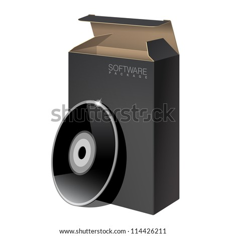 Realistic Black Package Cardboard Box with DVD Or CD Disk. Vector illustration