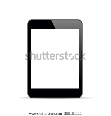 Realistic black tablet with blank screen isolated on white background. Vector illustration. - stock vector