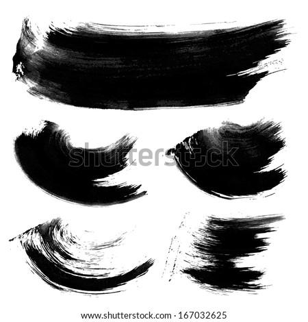 Realistic black texture strokes 1 - stock vector