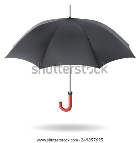 Realistic black umbrella on white background. EPS-10 - stock vector