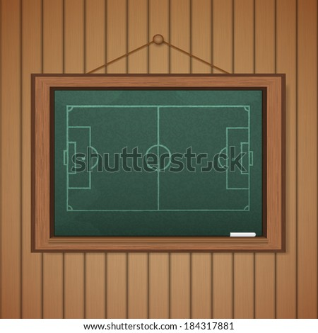 Realistic blackboard on wooden background drawing a Stadium soccer