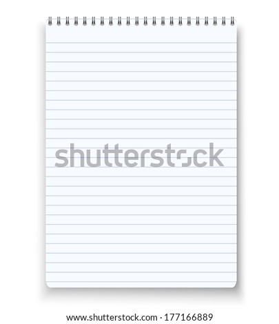 Realistic blank spiral notebook notepad isolated white vector - stock vector