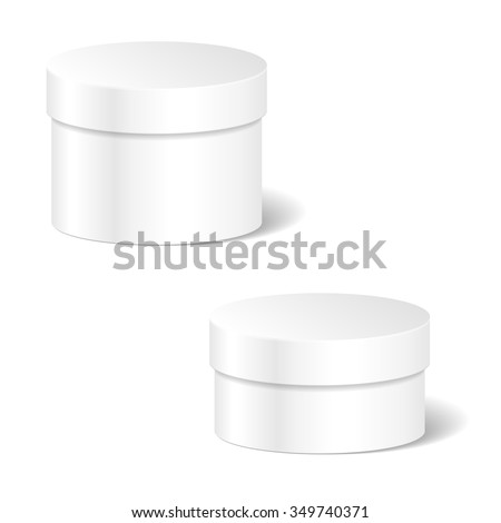 Realistic Blank White Product Package Box Mock Up Set To Advertise Goods. Cylindrical Container With Lid. Packaging Template. Vector. - stock vector