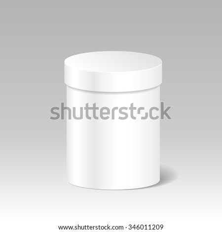 Realistic Blank White Product Package Box Mock Up To Advertise Goods. Cylindrical Container With Lid. Packaging Template. Vector. - stock vector