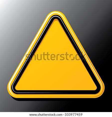 Realistic blank yellow hazard warning sign on black. Vector illustration. - stock vector
