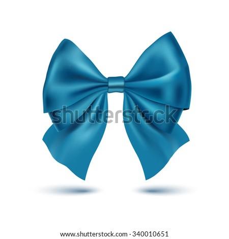 Realistic blue bow. Ribbon. Vector illustration - stock vector