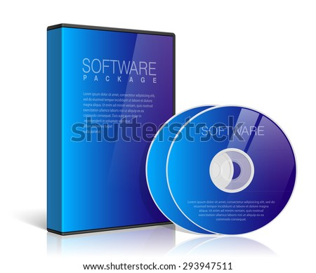 Realistic Blue Case for DVD Or CD Disk with DVD Or CD Disk on a transparent background. Vector Illustration - stock vector