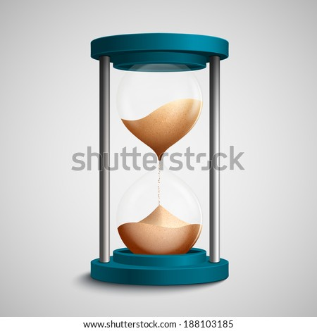 Realistic blue colored hourglass with strewing sand concept template vector illustration - stock vector