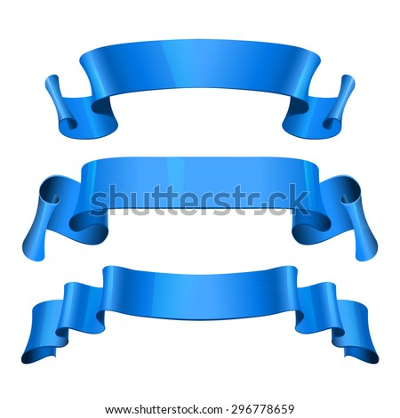 Realistic Blue Glossy vector ribbons set vector - stock vector