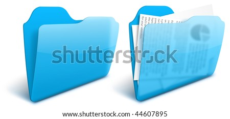Realistic blurry transparent blue folder vector icon - EPS 10. See other colors in my portfolio - stock vector