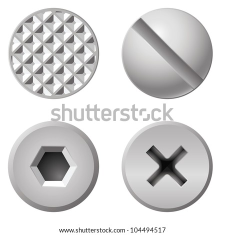 Realistic bolts of different shapes. Illustration on white background