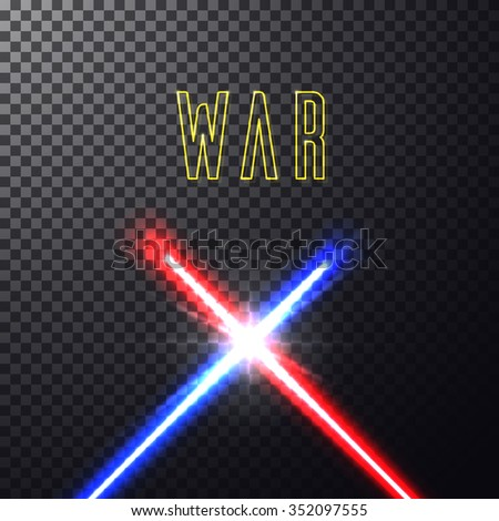 Realistic bright blue, red laser halogen beams. Crossed light swords on isolated transparent black background. Weapon futuristic from star war. Vector illustration, design elements for your projects - stock vector