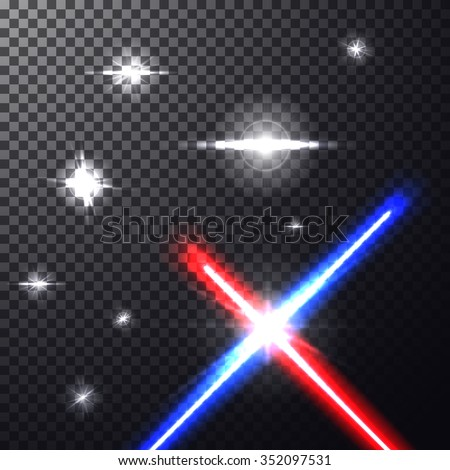 Realistic bright colorful laser beams. Crossed light swords on isolated transparent black background with stars. Weapon futuristic from star war. Vector illustration, design elements for your projects - stock vector