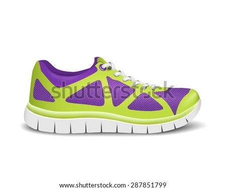 Realistic bright sport sneakers for running. Vector illustration - stock vector