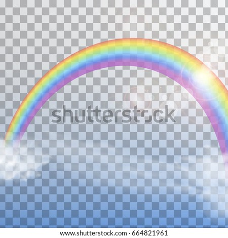 Realistic Bright Transparent Color Rainbow With Clouds Isolated Vector Illustration
