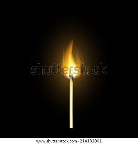 realistic burning match - stock vector