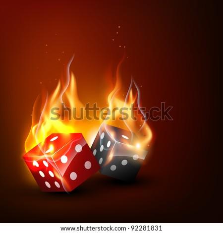 realistic burning vector dice illustration - stock vector