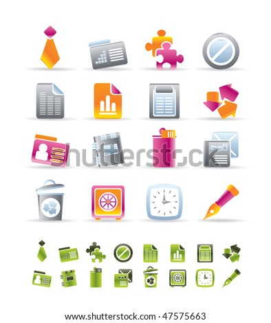 Realistic Business and Office Icons - vector icon set - stock vector