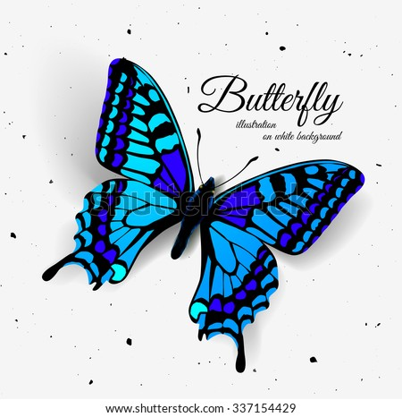 Realistic butterfly with shadow and noise. - stock vector