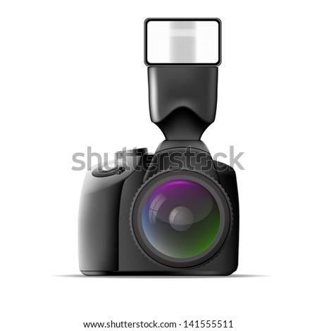 Realistic camera with external flash. Vector illustration - stock vector