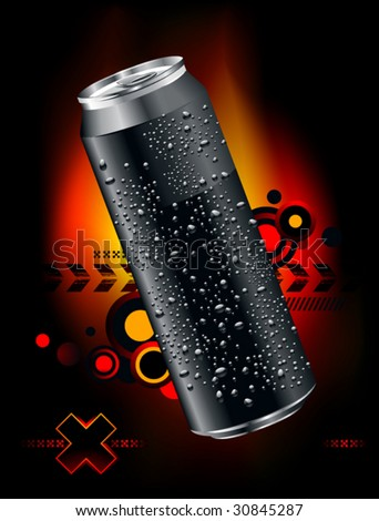 Realistic can somewhere in space - stock vector