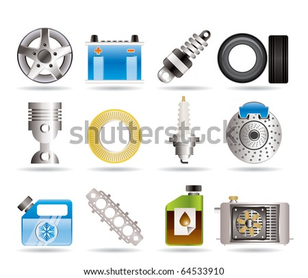 Realistic Car Parts and Services icons - Vector Icon Set 5 - stock vector